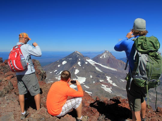 The summit of South Sister is often crowded on weekends in September.