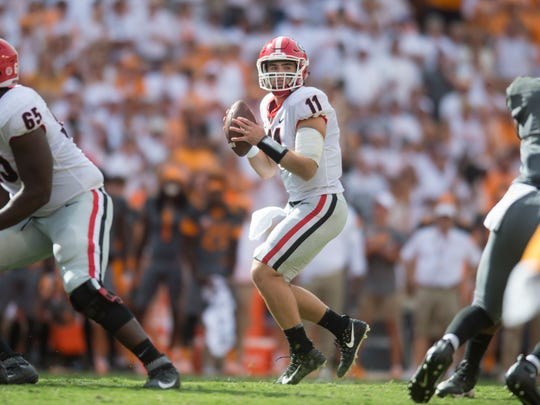 Georgia quarterback Jake Fromm (11) lines up a throw during the Tennessee Volunteers vs. Georgia Bulldogs game at Neyland Stadium in Knoxville, Tennessee on Saturday, September 30, 2017.
