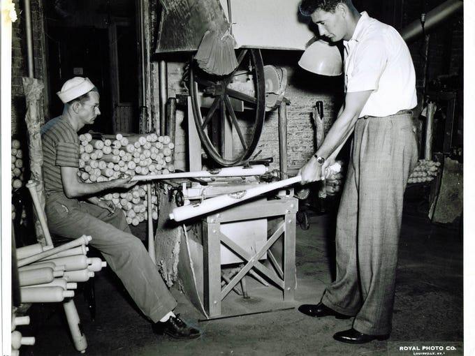 Baseball legend Ted Williams visits the bat brander