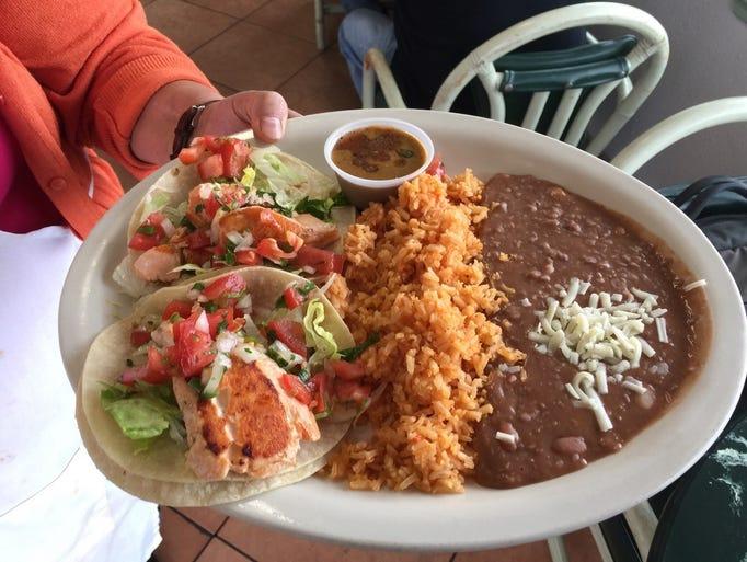 The salmon fish taco special at Las Dos Marias.