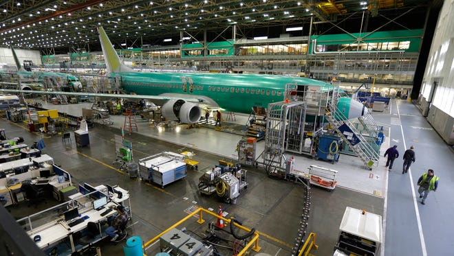 About 70% of the commercial airliners assembled by Boeing in the US are sold overseas.