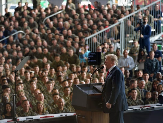 President Trump speaks to military personnel at Marine Corps Air Station Miramar in San Diego on March 13, 2018.