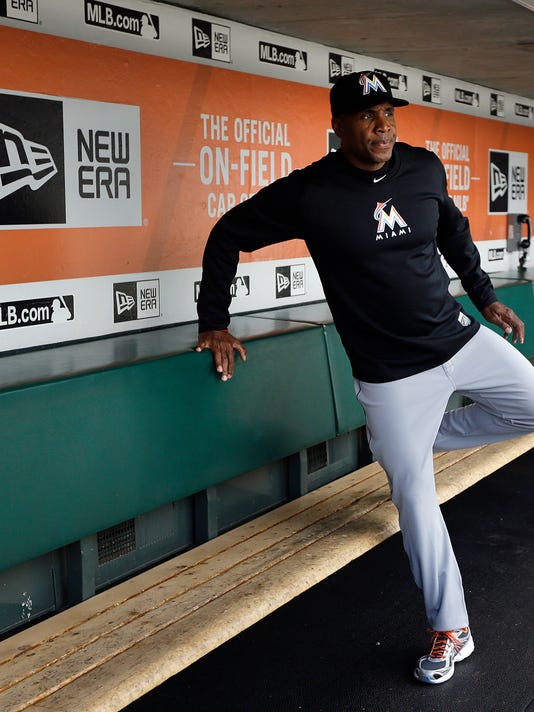 Miami Marlins hitting coach Barry Bonds sits in the dugout prior to the team's baseball game against the San Francisco Giants on Friday, April 22, 2016, in San Francisco. (AP Photo/Ben Margot)