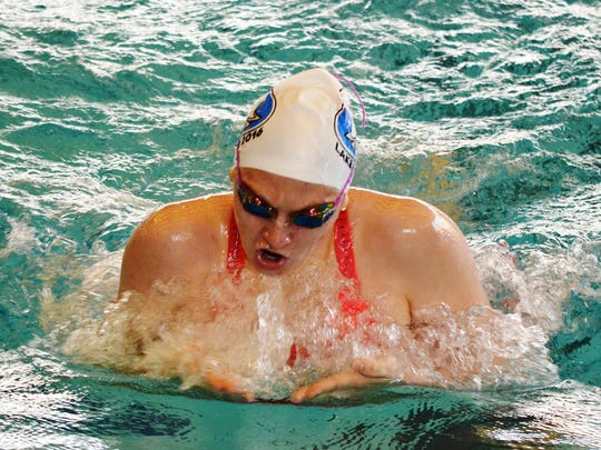 Lakeland's Emma Hazel won two individual events, including the 200 IM at the Lakes Conference meet.