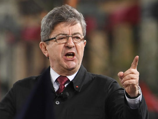 Jean-Luc Melenchon speaks during a rally in Paris on