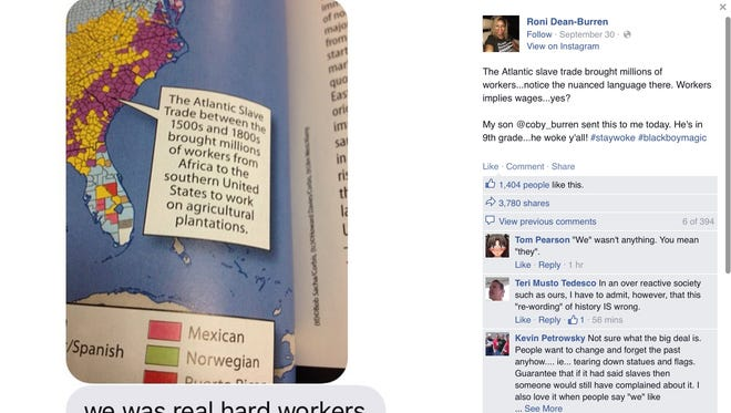 A screenshot of Roni Dean-Burren's initial exchange with her son over the caption in his 9th grade textbook.