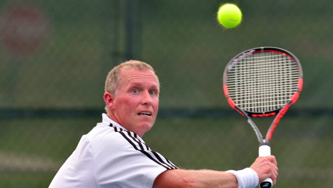 Jim Kohr, seen here in a file photo, will attempt to win his 18th York City-County Tennis Tournament Men's Singles title this summer. YORK DISPATCH FILE PHOTO
