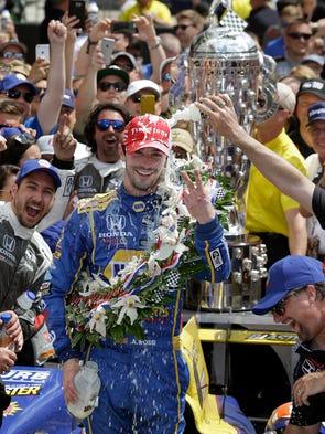 Andretti Autosports Alexander Rossi (98) celebrates
