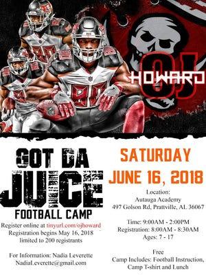 O.J. Howard is having a football camp June 16 at Autauga Academy.