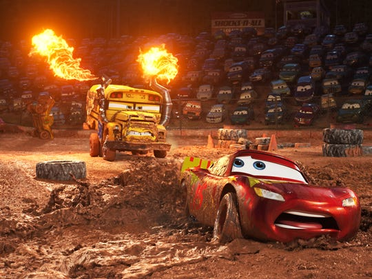 """In """"Cars 3,"""" Lightning McQueen (voice of Owen Wilson) faces off against a school bus who—like #95 himself—doesn't like to lose."""