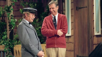 "David Newell, as Mr. McFeely, left, and Fred Rogers on the set of ""Mister Rogers' Neighborhood."""
