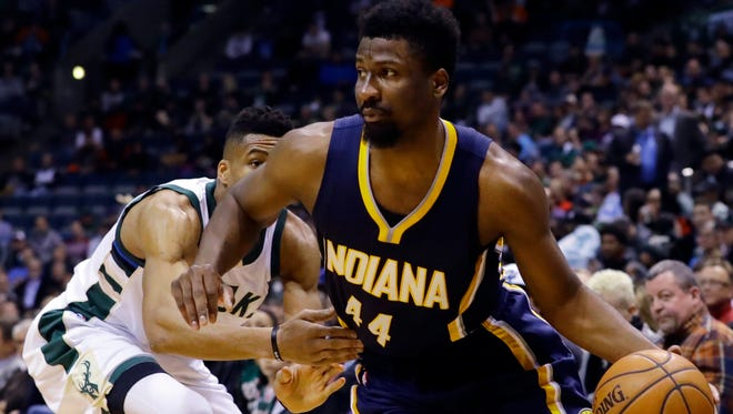Indiana Pacers' Solomon Hill (44) drives past Milwaukee Bucks' Giannis Antetokounmpo during the first half of an NBA basketball game Wednesday, April 13, 2016, in Milwaukee. (AP Photo/Morry Gash)
