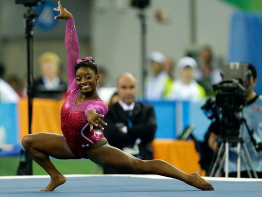 Simone Biles of the United States performs on the floor