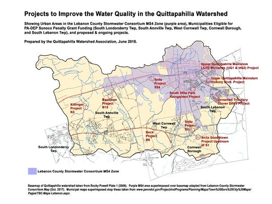A map of projects to improve the Quittapahilla Watershed
