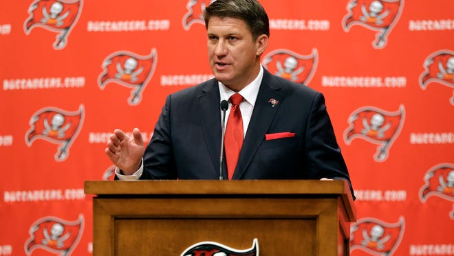 New Bucs GM Jason Licht conducts his first press conference Thursday.