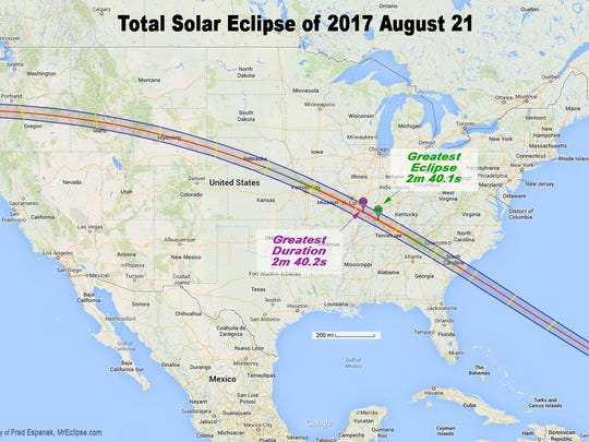 Eclipse path map.