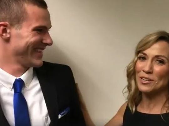 "Noah Jack Cummins meets Sheryl Crow for the first time backstage at the taping of ""Christmas at Belmont"" on Dec. 4, 2017. This image, taken from a video Crow posted on her Facebook page, shows Cummins telling the story to Crow of how he learned to speak by singing her song ""Picture."""