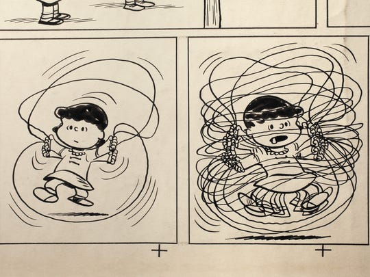 Proof sheet for the first 'Peanuts' daily newspaper