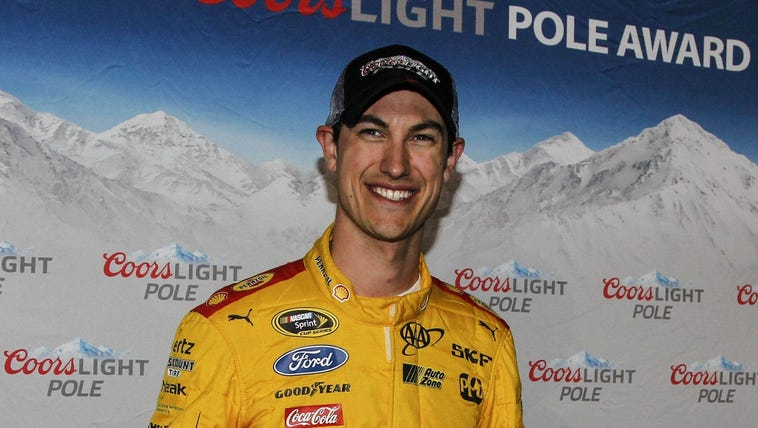 Sprint Cup Series driver Joey Logano (22) after winning
