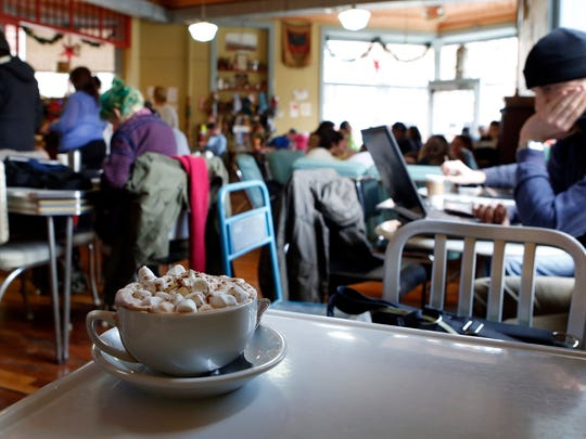 The hot chocolate topped with whipped cream and marshmallows at Peekskill Coffee House, Jan. 2, 2014.