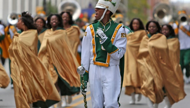 Members of the Kentucky State University marching band performed during the Circle City Classic Parade on Oct. 4, 2014.