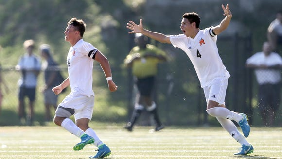 Mamaroneck's Cole Dicicco, 5, and Carlos Interiano,