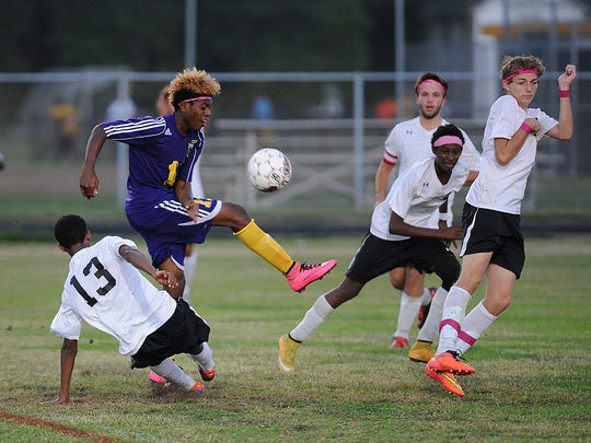 Crisfield's Johnny Taylor takes control of the ball