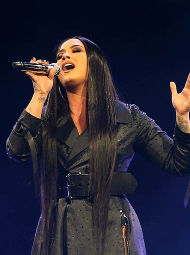 Demi Lovato performs during her Tell Me You Love Me World Tour stop at Talking Stick Resort Arena in Phoenix on Sunday, March. 4, 2018.
