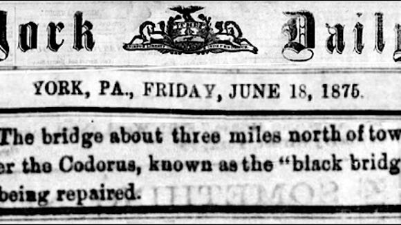 Notice in June 18, 1875 issue of the York Daily, York, Pa. (Newspaper Microfilms of York County Heritage Trust)
