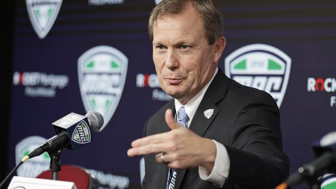 Mid-American Conference Commissioner Jon Steinbrecher speaks to the media March 12 in Cleveland. The MAC on Saturday became the first league competing at college football's highest level to cancel its fall season because of COVID-19 concerns.