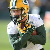 Green Bay Packers receiver Jared Abbrederis catches a ball during a passing drill at training camp at Ray Nitschke Field on Thursday.