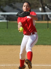 North Rockland pitcher Kayla McDermott during a game at Suffern April 28, 2015.