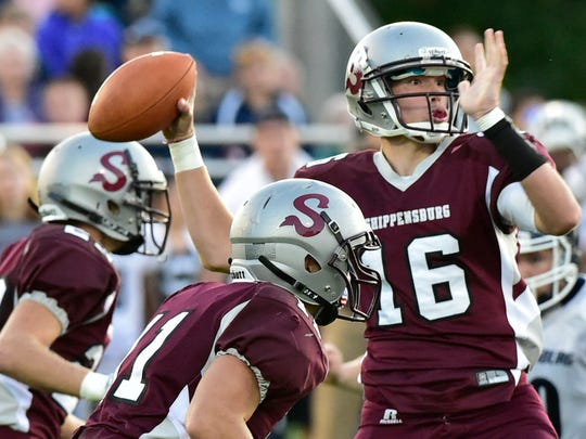 Shippensburg QB Carter Vanscyoc throws a pass. Chambersburg was on the road to play Shippensburg, Friday, September 8, 2017 at Memorial Park Stadium. The Greyhounds won 21-14.