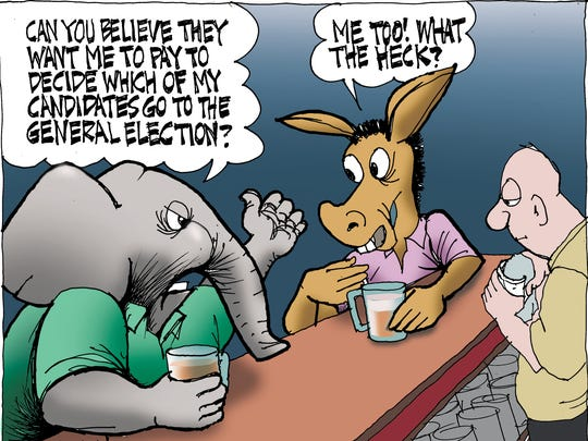 Sunday cartoon for 0924 on primary election