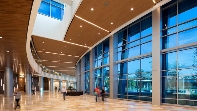 The lobby of the CenturyLink building in Monroe, La., with dynamic View Glass.