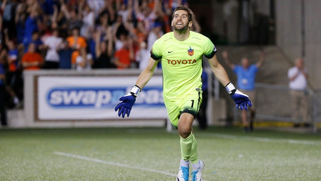 FC Cincinnati goalkeeper Mitch Hildebrandt (1) reacts after saving the penalty shot to win the game penalty kicks during the Lamar Hunt US Open Cup match between the Chicago Fire and FC Cincinnati, Wednesday, June 28, 2017, at Nippert Stadium in Cincinnati.