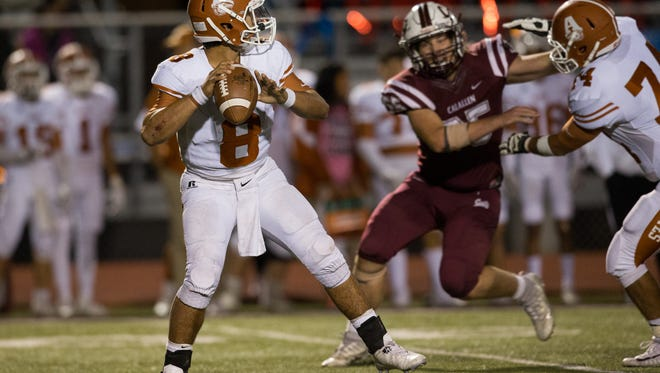 Alice's quarterback Trey Jaramillo drops back to pass the ball during the fourth quarter of their game against Calallen at Wildcat Stadium on Friday, Oct. 27, 2017