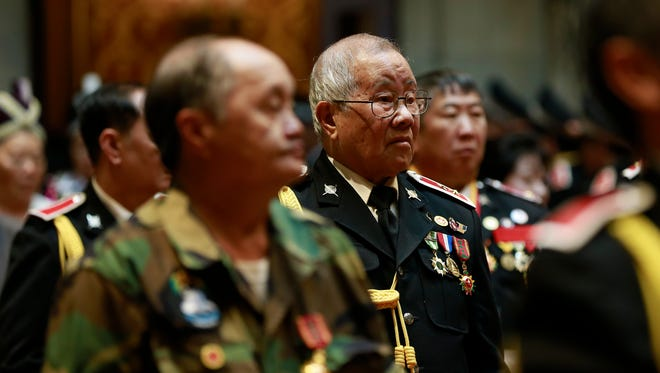 Hmong veterans attend the Hmong-Lao Veterans Appreciation Day event Monday, May 14, 2018, at the state Capitol in Madison Madison, Wisc. T'xer Zhon Kha/USA TODAY NETWORK-Wisconsin