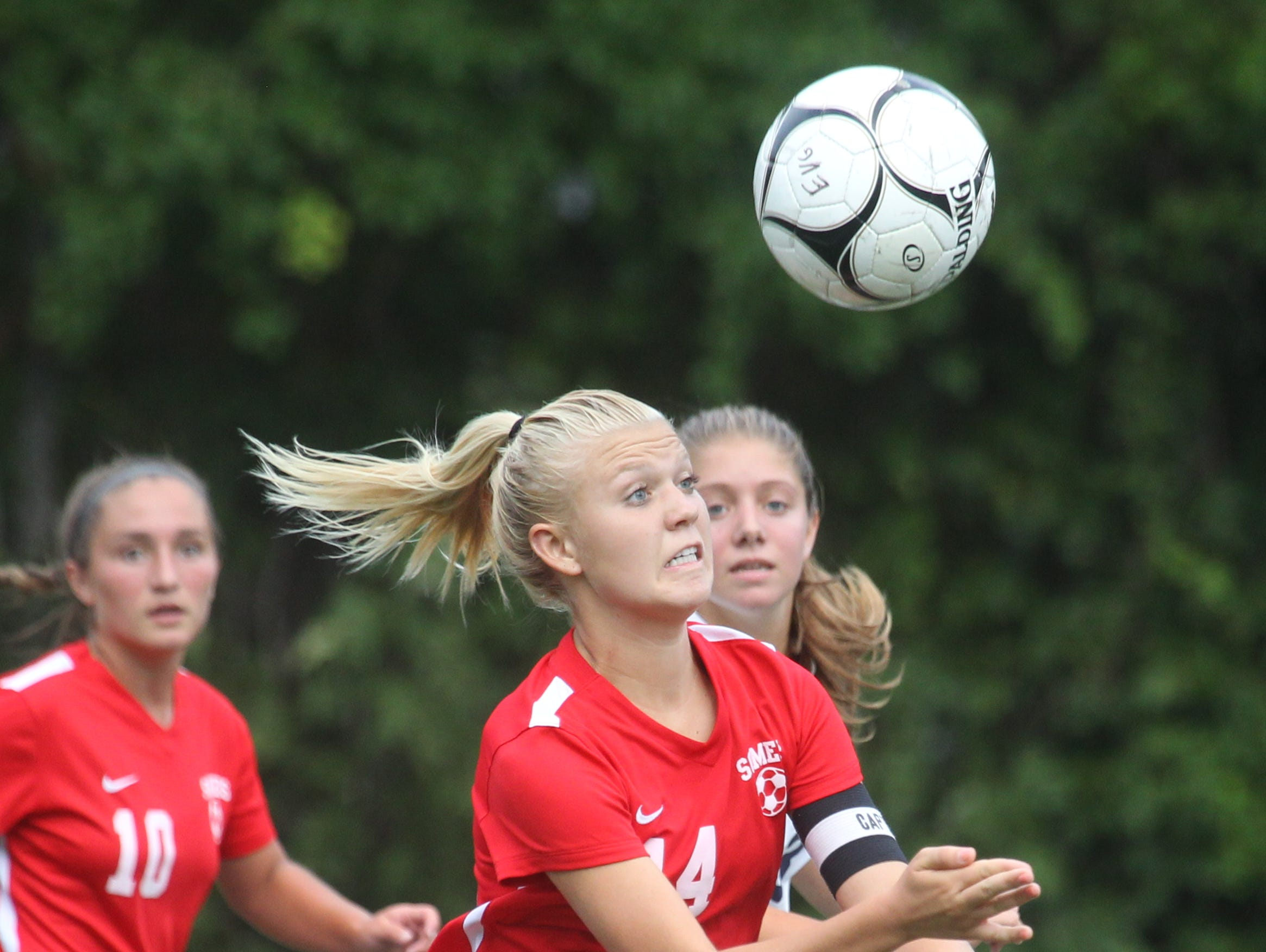 Somers' Melina Couzis controls the ball on her way to scoring a goal during a game at Eastchester Sept. 6, 2016. Somers won 8-1.