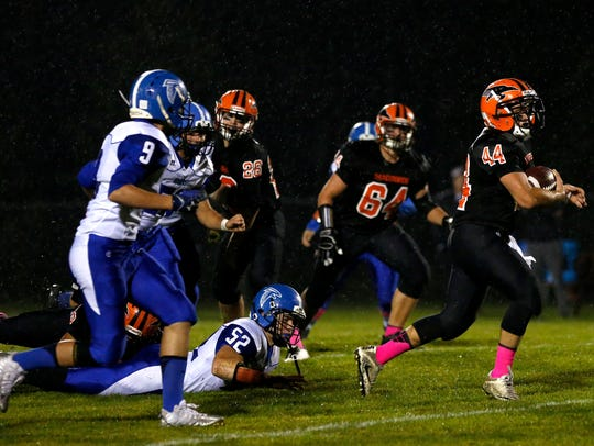 Iola-Scandinavia junior running back Bryce Huettner has been one of the more productive running backs in Wisconsin. He has gained 2,150 yards to rank fifth in the stateand has 29 touchdowns on the ground.