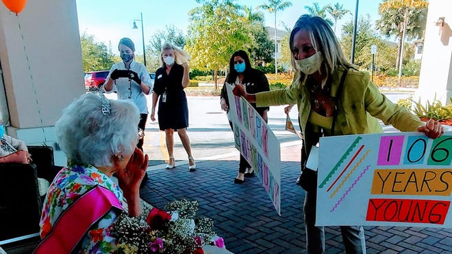 Madelyn Morocco was treated to a 106th birthday celebration at HarborChase of Palm Beach Gardens Friday. The event included a car parade, balloons, signs and songs.