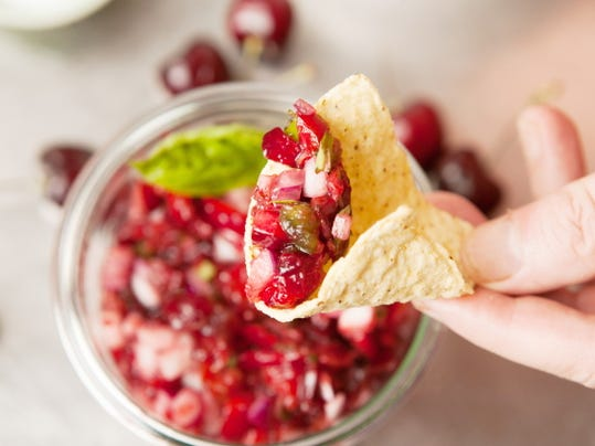 Cherry Salsa is a perfect way to enjoy fresh cherries — any sweet variety or tart cherries if you can find them. The salsa is delicious with chips and also good with chicken, or as a cranberry substitute with turkey.
