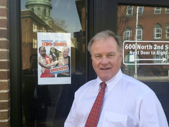 Slammed by the PA AFL-CIO in a movie poster parody, Sen. Scott Wagner called himself flattered to be included with Wisconsin Gov. Scott Walker.