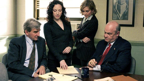 """Sam Waterston, left, reprised his """"Law & Order"""" character for two episodes of """"Trial By Jury"""" along with cast regulars Bebe Neuwirth, Amy Carlson and Fred Thompson."""