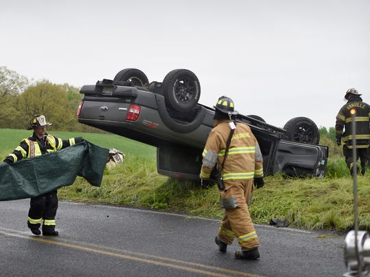 Annville Cleona rescue personnel worked for close to 15 minutes to free a man trapped in an overturned vehicle at 915 N. Mill St. in North Annville Township Sunday, May 1. Members of Station 7  -Waterworks and Station 58 Annville/Cleona fire, were dispatched at 10:55 a.m. The single-passenger vehicle was headed north on North Mill Street, as it flipped after a sharp right turn to the east. The pavement was wet at the time. The driver was at the scene of the accident, but no information was available about his condition or whether he was transported.