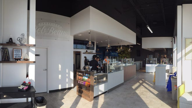 The interior of Professor Bob Beans Coffee Bar and Ice Cream Lab is shown.