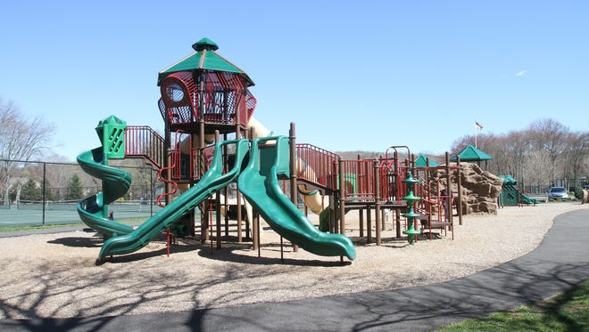 The large playground at Bedford Village Memorial Park.