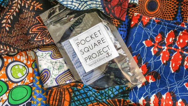 The sales of pocket squares and bow ties, handmade from traditional African kitenge cloth, goes to support programs for children with HIV in Kenya.