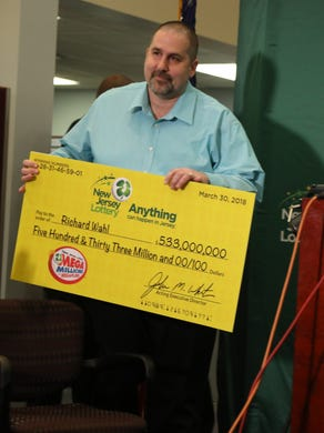 April 13, 2018: The winner of the lottery $ 533 million, Richard Wahl from Vernon, arrives at the lottery headquarters to accept his check.
