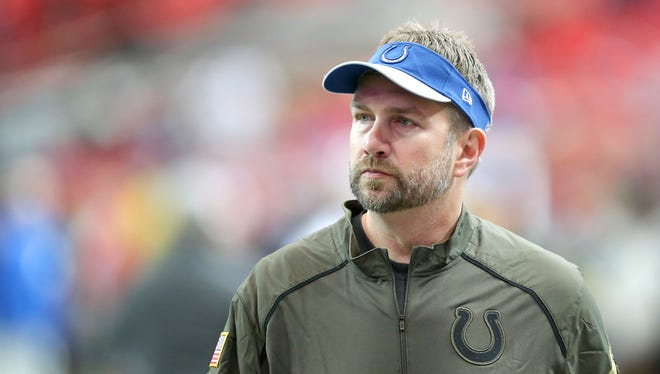 Indianapolis Colts offensive coordinator Rob Chudzinski during pre-game activities of an NFL football game Sunday, Nov. 22, 2015, at Mercedes-Benz Stadium in Atlanta, Georgia.